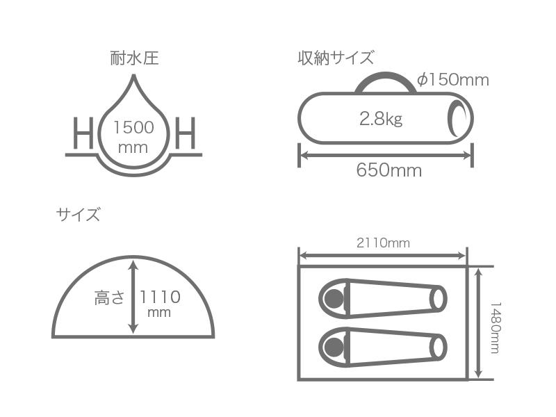 ワンタッチテントのサイズ画像