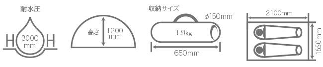 ウルトラライトワンタッチテントのサイズ画像