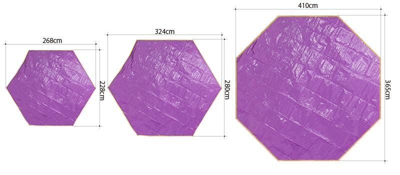 ワンポールテント用グランドシート(多角形タイプ)のサイズ画像
