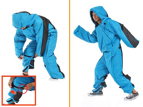 人型寝袋ver5.0 ヌクヌクシリーズのメインの特徴(Ver.5.0からの新仕様:イージーウォークシステム)