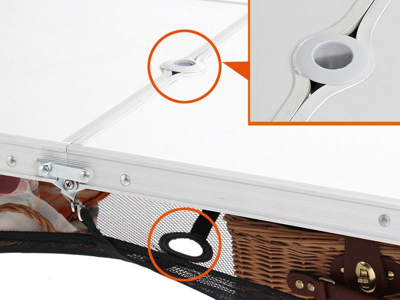 ハッピーテーブルセットのメインの特徴(パラソル穴)