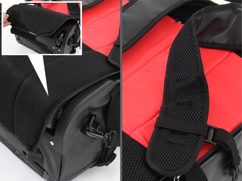 2WAYアウトドアキャリーバッグの各部の特徴(快適なバックパック機能)