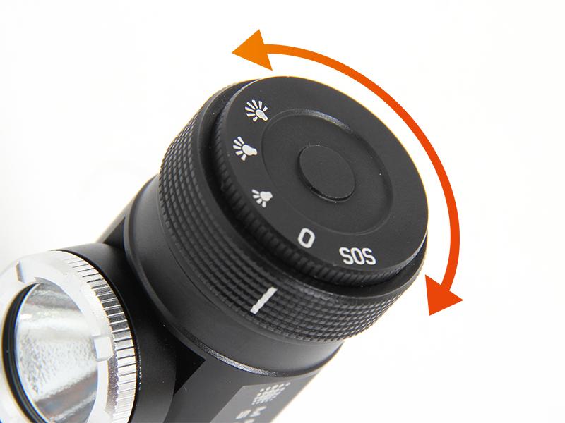 マキシマスパーク 2WAY LEDヘッドライトの各部の特徴(ダイヤル式スイッチ)