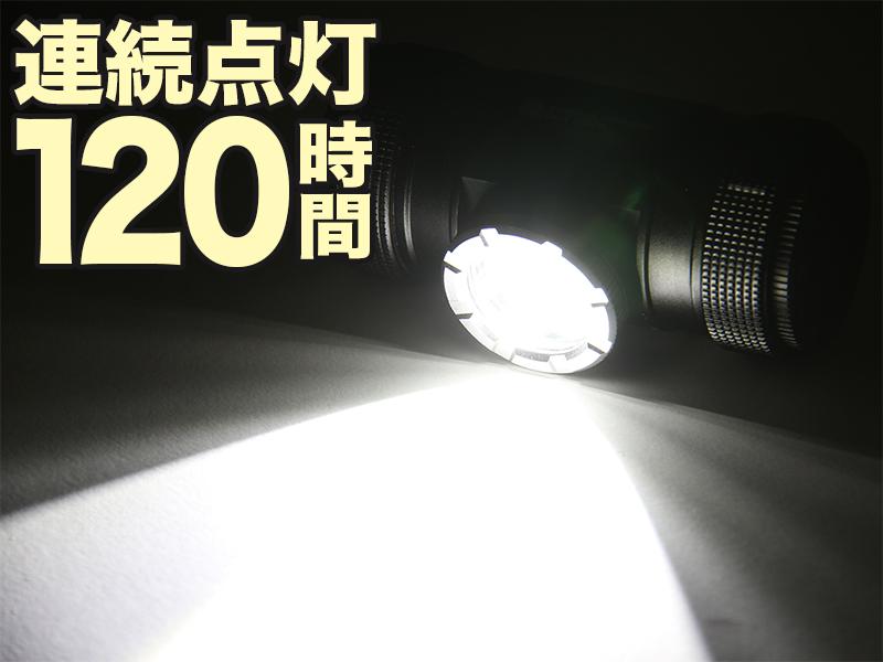 マキシマスパーク 2WAY LEDヘッドライトの各部の特徴(連続点灯 最長120時間)