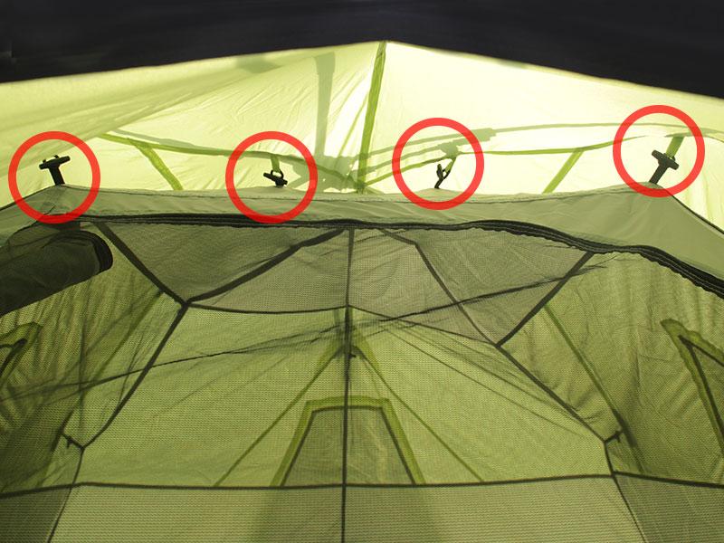 ビッグストレージワンタッチテントの各部の特徴(吊り下げ式インナーテント)