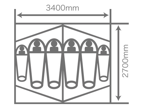 2ルームワンタッチテントの各部の特徴(最大6人就寝可能)