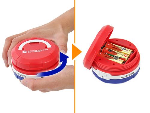 ポップアップ 2WAY LEDランタン電池の入れ方画像