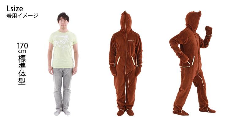 人型寝袋フリース身長170cm標準体型の場合(size L)画像