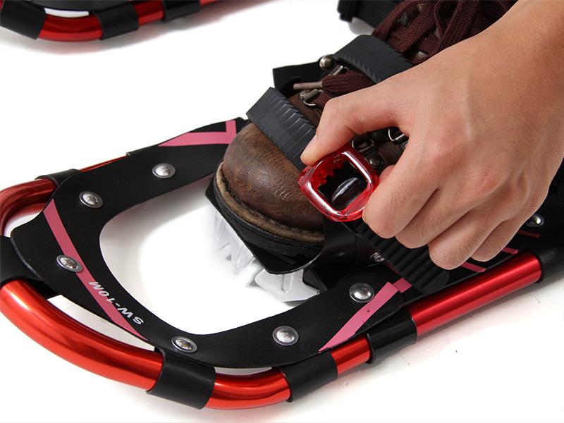 トレッキングポール スノースパッツ スノーシューセット装着方法画像