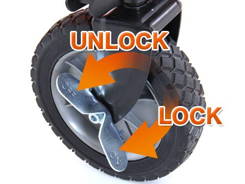 フォールディングキャリーワゴンの各部の特徴(タイヤロック)