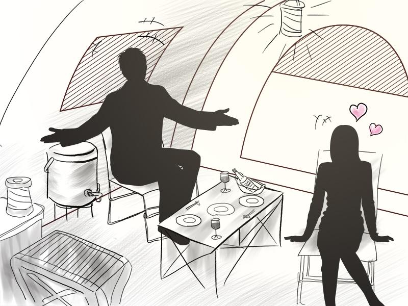 2ルームワンタッチテントアウトドアで男をあげる ~カップルテントはココが違う!?~画像