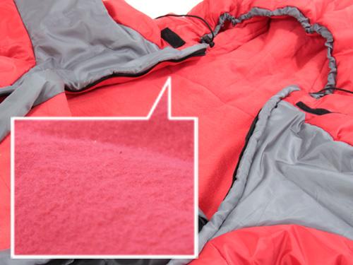 人型寝袋ver5.0 ヌクヌクシリーズの各部の特徴(フランネル(起毛)裏地)