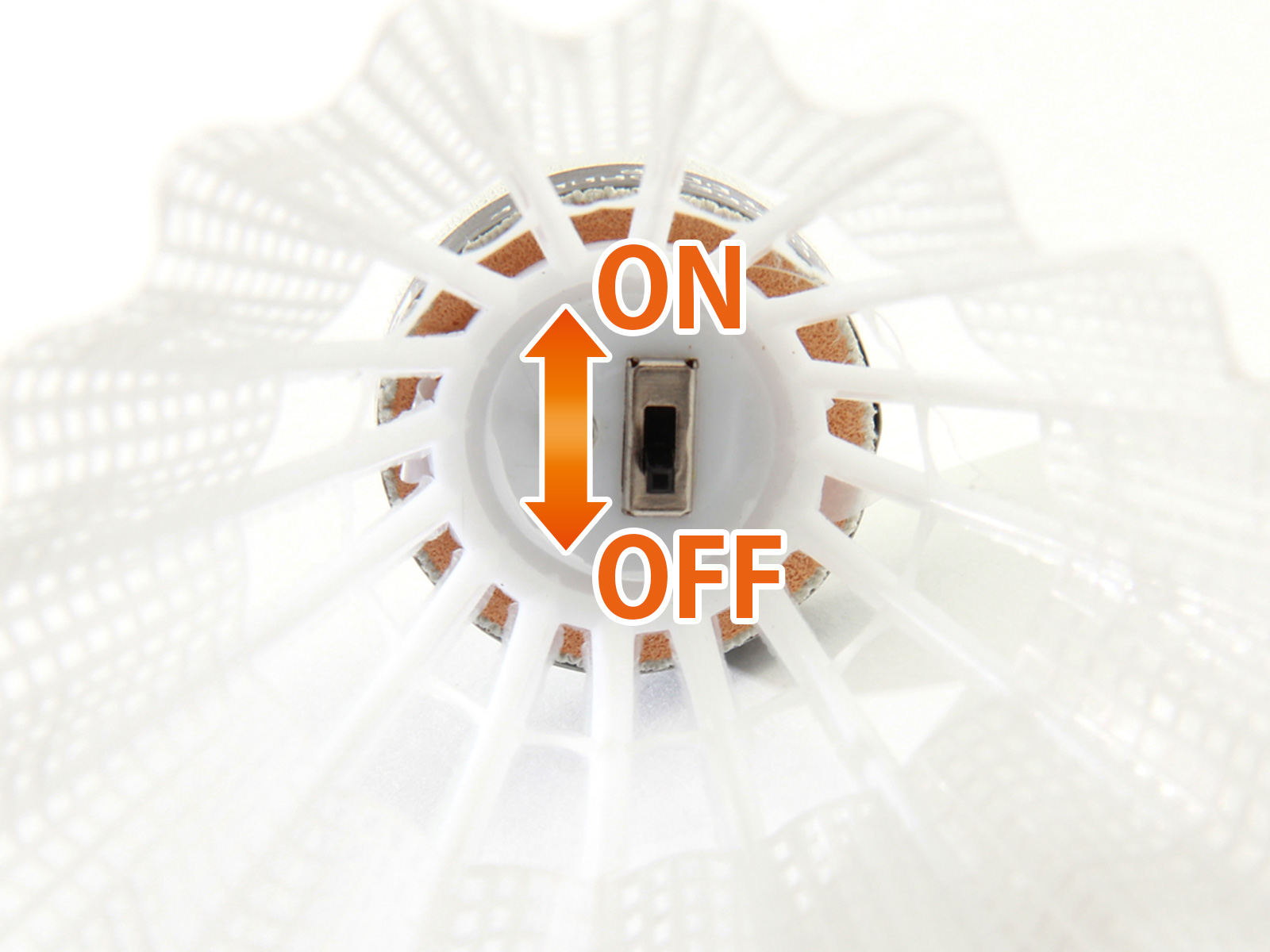 LEDバドミントンシャトルの各部の特徴(電源スイッチ)