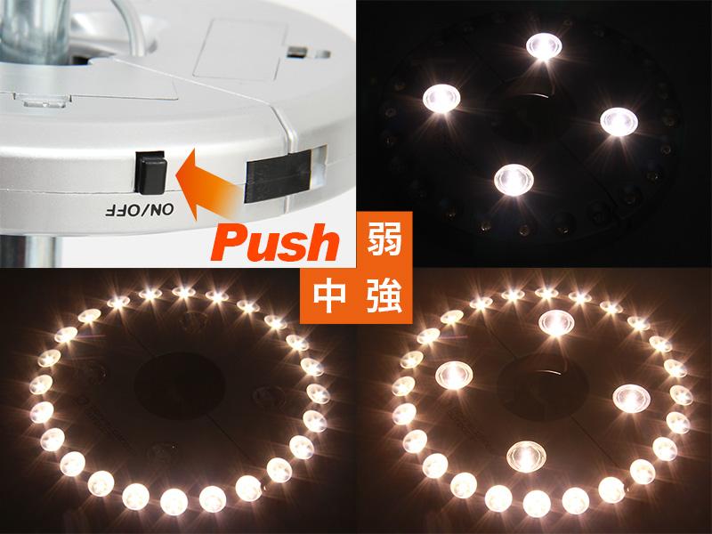 UFOライトの各部の特徴(光量調節機能付き)