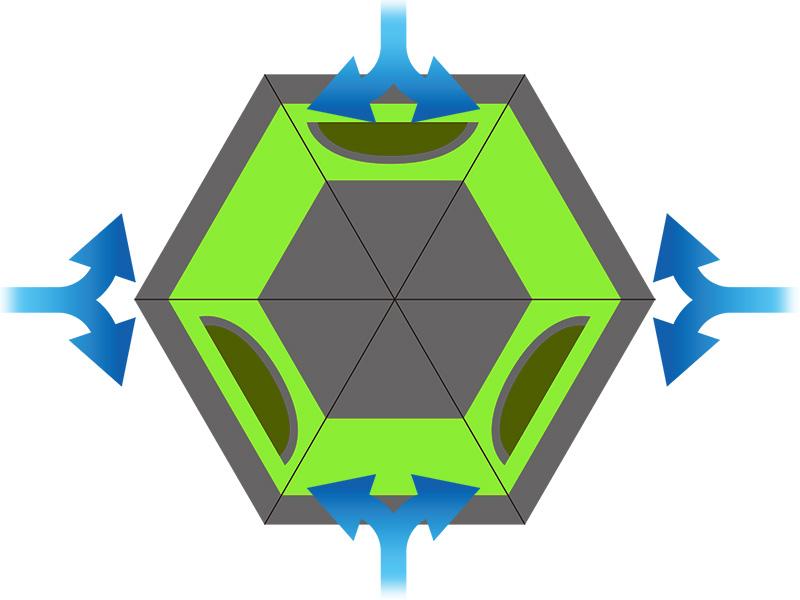ワンタッチフィッシングテントの各部の特徴(ヘキサゴン形状)