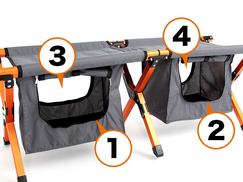 ストレージベンチの各部の特徴(4つの取り出し口)