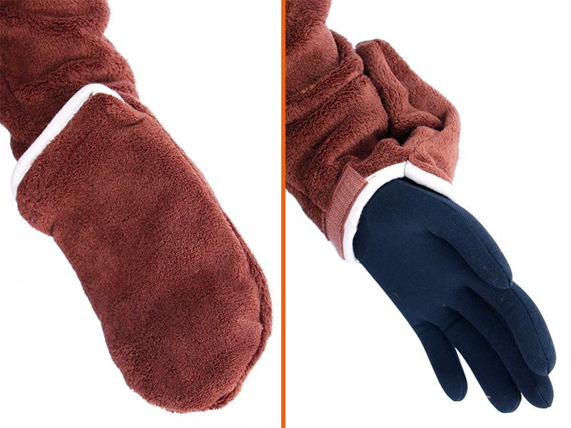 人型寝袋フリースの各部の特徴(フリーハンドシステム)