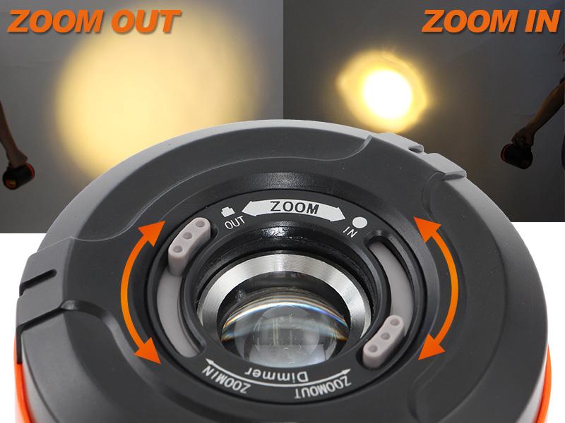 ラージポップアップランタンの各部の特徴(照射範囲調整)