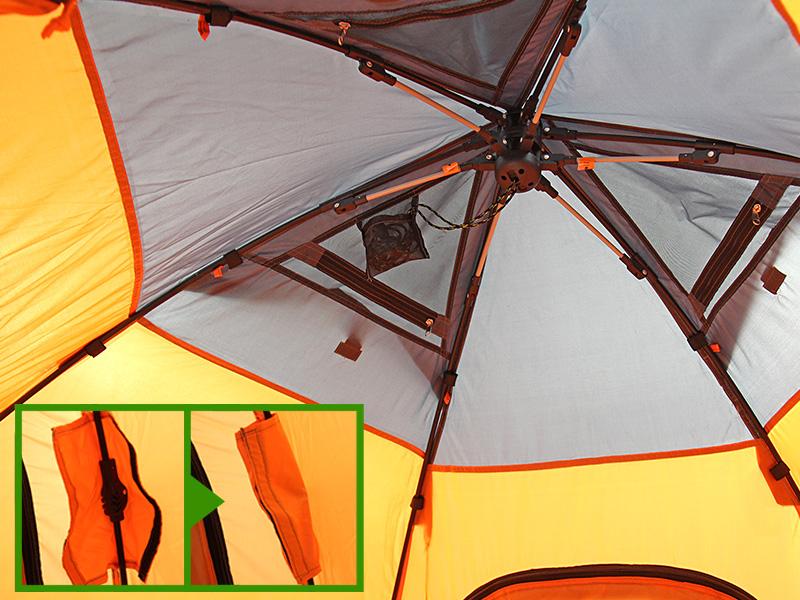 ワンタッチフィッシングテントの各部の特徴(インナーポール構造)
