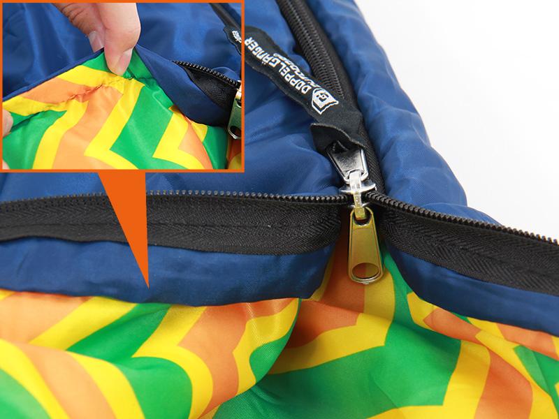 ポンチョスリーピングバッグの各部の特徴(噛みにくいジッパー)