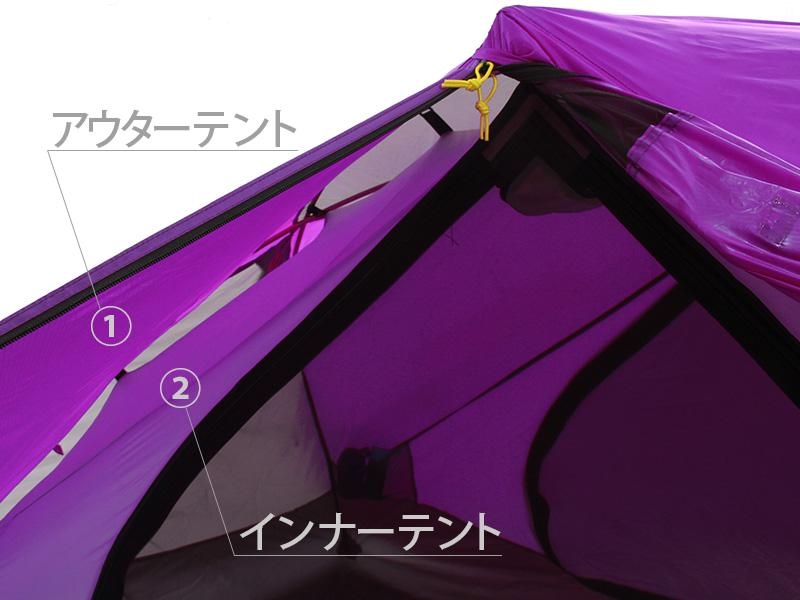 ウルトラライトリラックステントの各部の特徴(ダブルウォール)