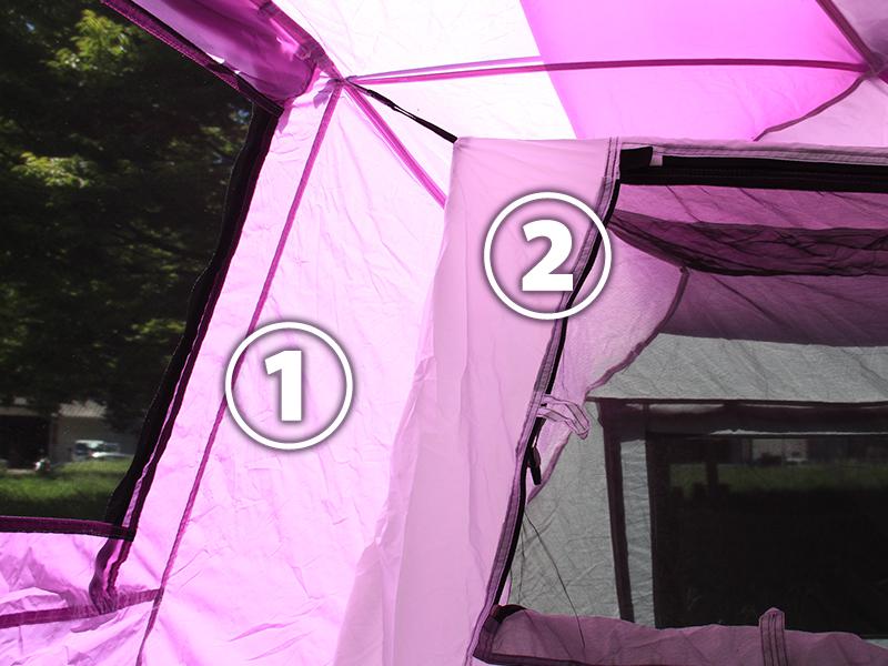 2ルームワンタッチテントの各部の特徴(ダブルウォール)