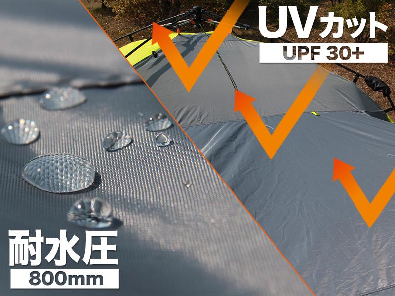 ワンタッチスクリーンタープの各部の特徴(UV30+/耐水圧800mm)