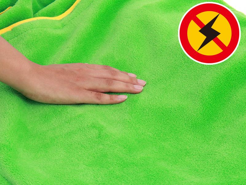 人型寝袋フリースの各部の特徴(静電気防止加工)