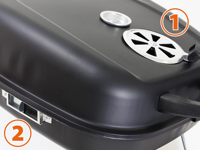 アメリカンBBQ&スモークグリルの各部の特徴(火力&煙量調整)