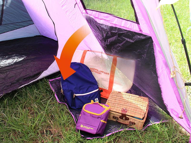 2ルームワンタッチテントの各部の特徴(荷物置きシート内蔵)