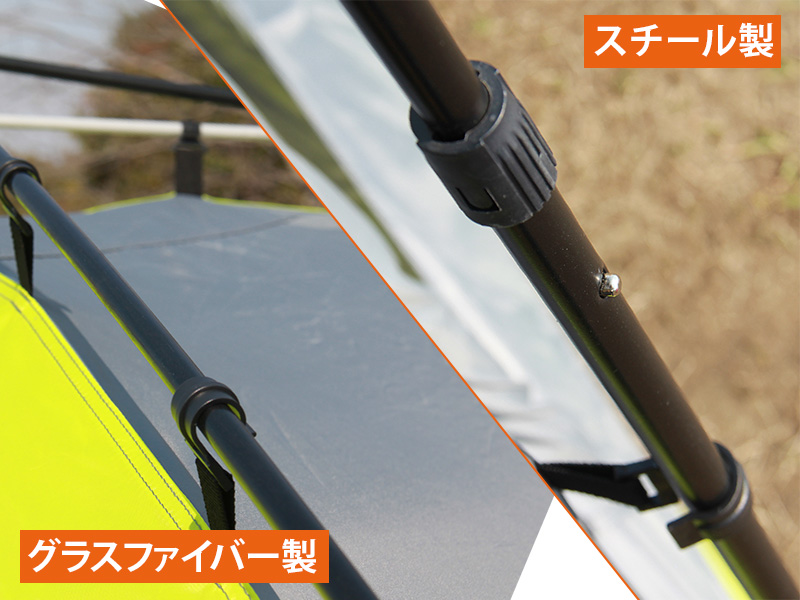 ワンタッチスクリーンタープの各部の特徴(グラスファイバー/スチールポール)