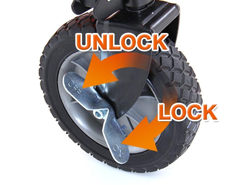 フォールディングキャリーワゴンの各部の特徴(斜面も安心タイヤロック付)