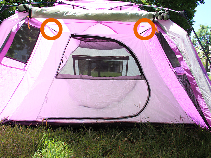 2ルームワンタッチテントの各部の特徴(吊り下げ式インナーテント)