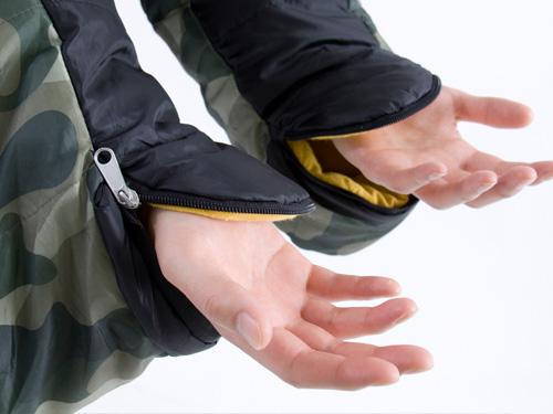 人型寝袋ver5.0 ヌクヌクシリーズの各部の特徴(ハンドジッパー)