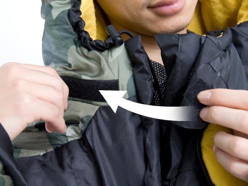 人型寝袋ver5.0 ヌクヌクシリーズの各部の特徴(サイズ調節ベルクロ)