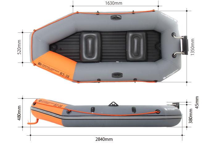 インフレータブルボートのサイズ画像