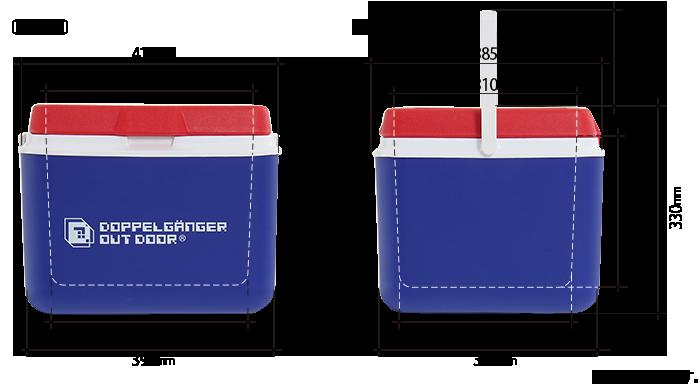 デザイナーズクーラーボックスのサイズ画像