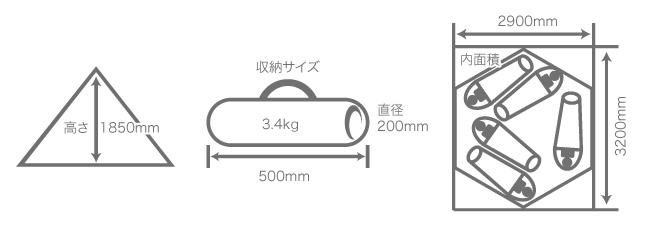 ワンポールテントのサイズ画像