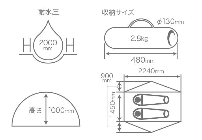 ウルトラライトリラックステントのサイズ画像