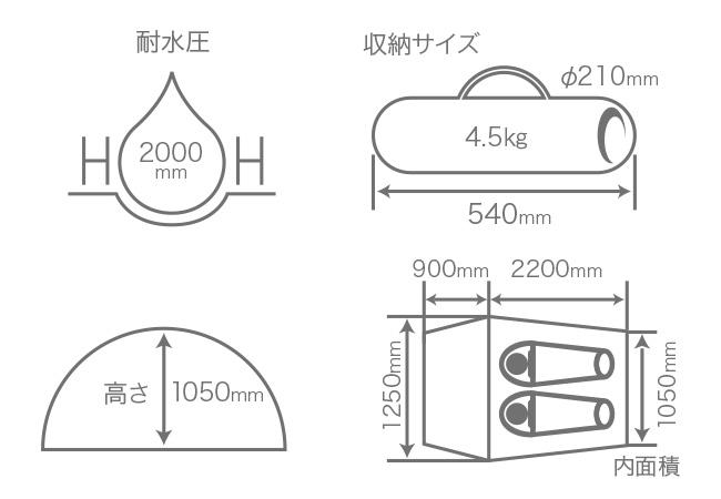 エアフレームテントのサイズ画像
