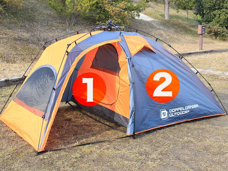 2ルームワンタッチテントのメインの特徴(2ルーム構造)