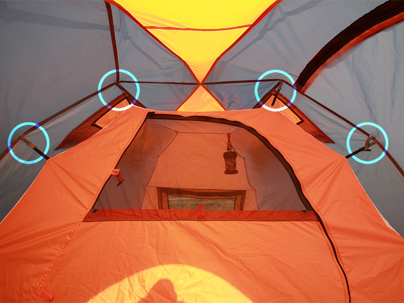 2ルームワンタッチテントのメインの特徴(吊り下げ式テント)