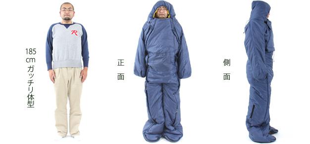 人型寝袋ver5.0フィットサイズ画像
