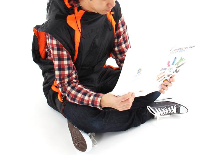人型寝袋 ハンソデシリーズの使用の一例