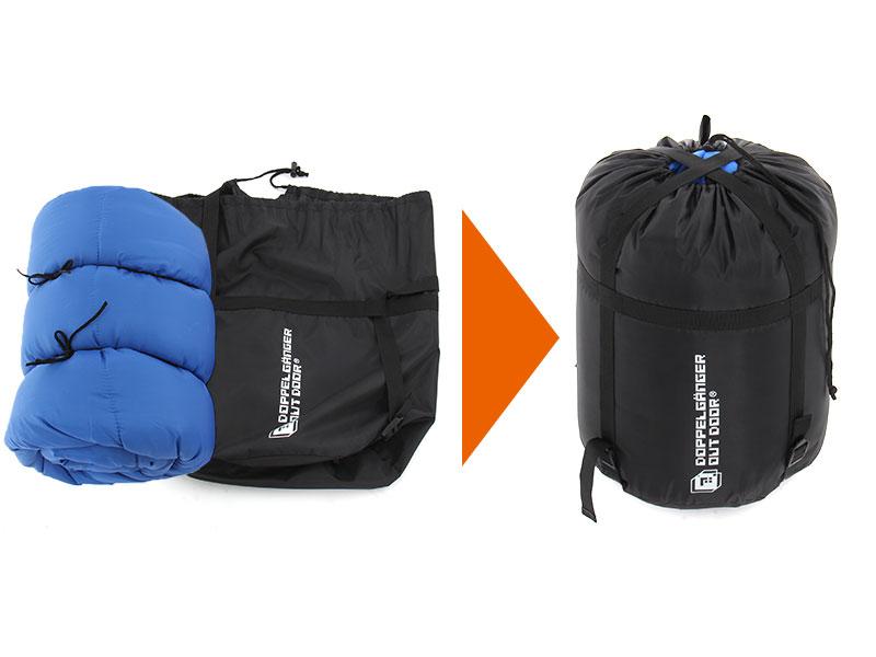 マトリョーシカスリーピングバッグの各部の特徴(コンプレッションバッグ(大))