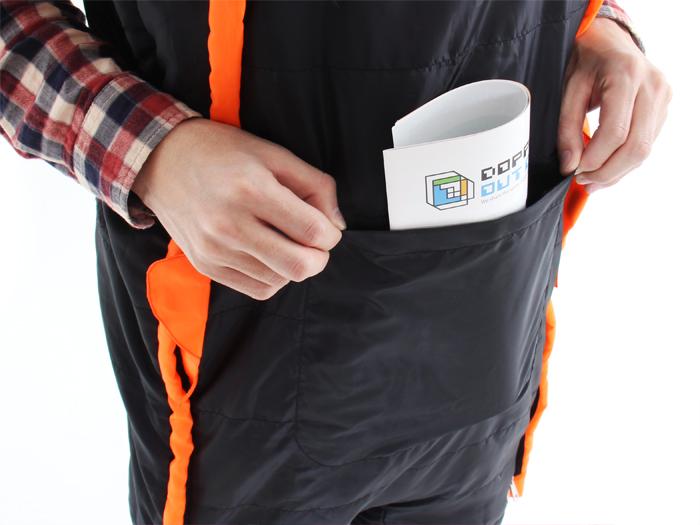 人型寝袋 ハンソデシリーズの各部の特徴(小物収納ポケット)