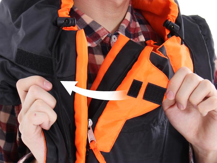 人型寝袋 ハンソデシリーズの各部の特徴(サイズ調節ベルクロ)