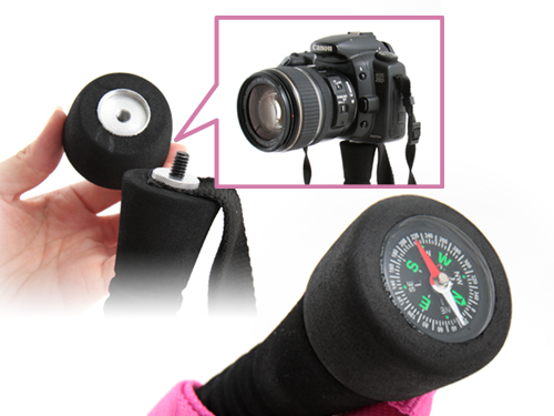 マルチトレッキングポールのメインの特徴(カメラの一脚にもなる コンパスグリップを装着)