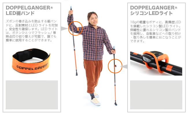 ノルディックウォーキングポールの各部の特徴(さらに視認性を高めるLEDライト&LED裾バンド)