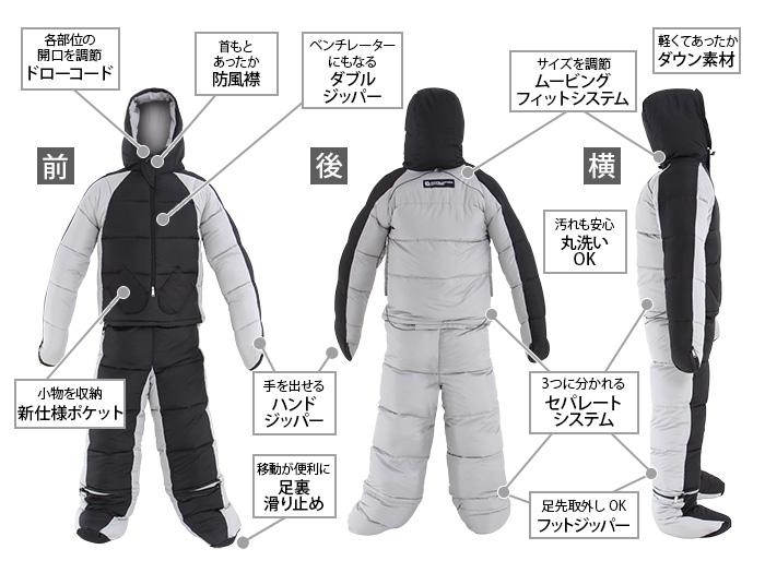 人型寝袋ver7.0 ダウンシリーズの主な特徴